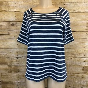 Jane and Delancey Striped Lace Up Sleeve Blouse M